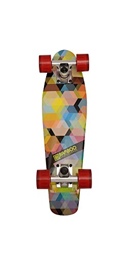 Bamboo Skateboards Kaleidoscope Mini Cruiser- Complete Mini Skateboard Banana Board (Red Wheels)