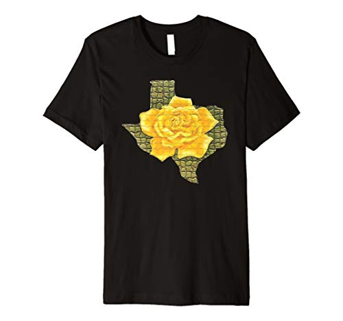 Awesome Yellow Rose Of Texas Pattern Flower Graphic T-Shirt