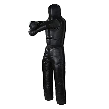Image of Aoneky 6ft Leather Unfilled Grappling Dummy - MMA Jiu Jitsu UFC Judo Standing Wrestling Dummy Wrestling Dummies