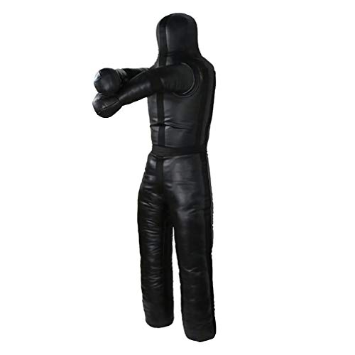 Aoneky 6ft Leather Unfilled Grappling Dummy - MMA Jiu Jitsu UFC Judo Standing Wrestling -