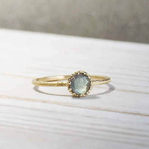 14K Gold Labradorite Ring - 14K Solid Yellow Gold Dainty Ring, 5mm Genuine Natural Labradorite Gemstone, Colorful Iridescent Gray and Blue Gem, Handmade Gift, Thin Midi Promise Ring for Women