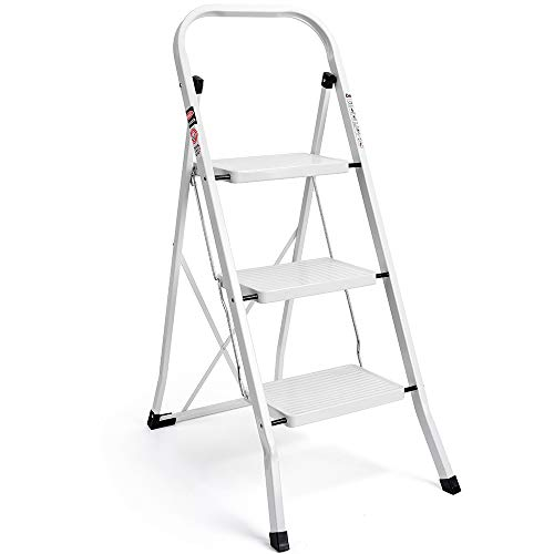 (Delxo 3 Step Ladder Folding Step Stool Ladder with Handgrip Anti-Slip Sturdy and Wide Pedal Multi-Use for Household and Office Portable Step Stool Steel 330lbs White (3 feet))