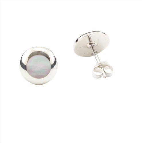 Boucles d'oreilles rondes en nacre et argent 925/ Fermoir a clou