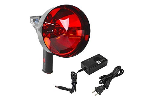 Larson Electronics 5 Million Candlepower Handheld Spotlight, Rechargeable L-Ion Battery, with 5 Inch Red Hunting Lens, Wall Charger, H3 Bulb