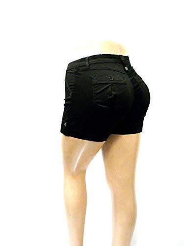 Cotton Lycra Twill Short - 1826 Women's PLUS SIZE Stretch HIGH WAIST TWILL Short 95% Cotton 5% Spandex 7380 (14, BLACK)