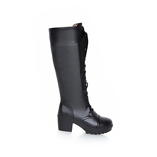 UH Femmes Chaussures Bottes avec Lacet à Cuissarde Talons Moyenne à Bloc Confortables et Chic Chaud pour L'automne Noir AFBgBqt4