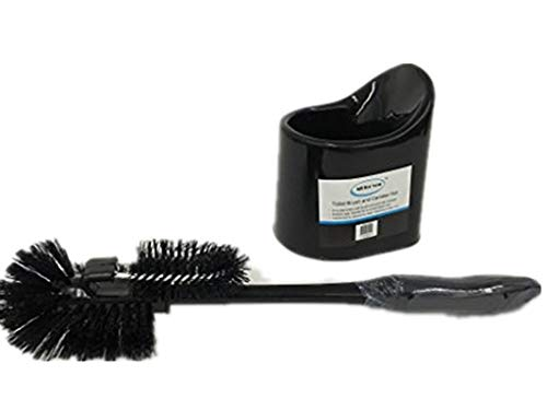 ALL FOR YOU Toilet Bowl Cleaning Brush and Holder Set-Dual Brushes (Black)