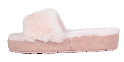 Comfy BLIZ DREAM Mules Slippers 01 Fluffy Pink Fur Sheepskin Women's PAIRS 4wwEO0