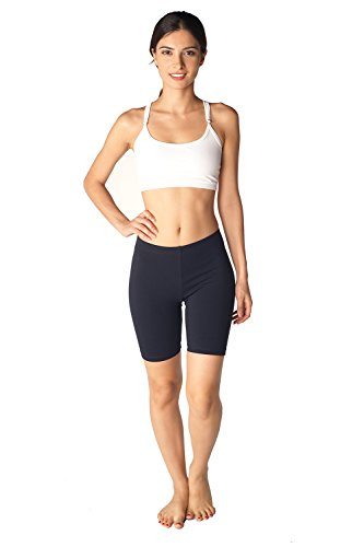 Womens Combed Cotton Basics 7 Inch Bike Short by In Touch, Black - Small by In Touch