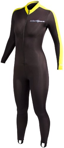 Womens Scuba Suit - NeoSport Wetsuits Full Body Sports Skins - Yellow Trim, XX-Large - Diving, Snorkeling & Swimming