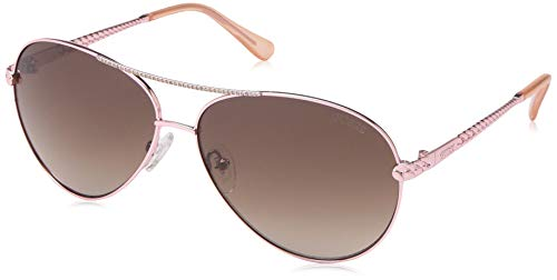 Gold Guess Sunglasses - GUESS Women's Gu7470-s Aviator Sunglasses, shiny rose gold & gradient brown, 60 mm