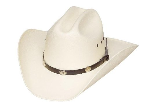 Classic Cattleman Straw Cowboy Hat with Silver Conchos and Elastic Band - White -L/XL -