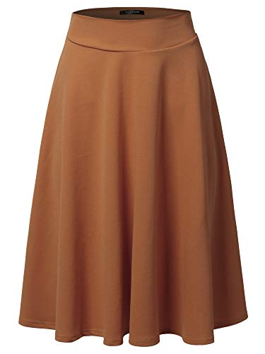 SSOULM Women's High Waist Flare A-Line Midi Skirt Brown 2XL