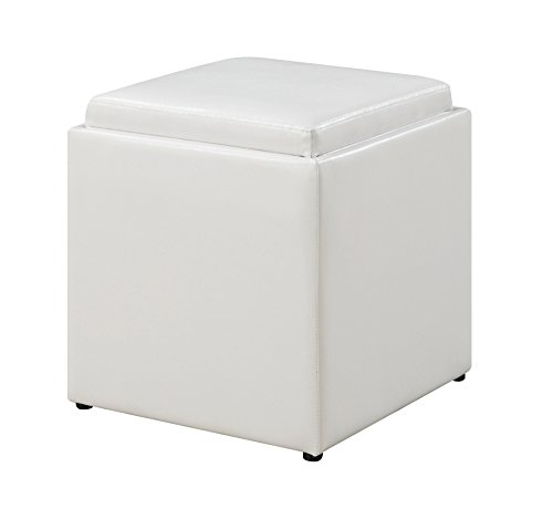 Convenience Concepts 143010W Designs4Comfort Park Avenue Single Ottoman with Stool, White