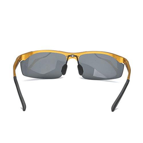 marco Gray conducción medio de sol clásico Gafas de espejo Color polarizadas Frame aluminio Gold Lens Lens Frame Gray los Black Black hombres de nuevas magnesio Gold nSCOwqCP