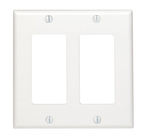 Leviton 80409-W 2-Decora/Gfci Standard Size Wall Plate, 2 Gang, 4.5 in L X 4.56 in W 0.22 in T, Smooth, 1-Pack, White