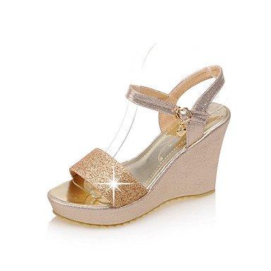7 Sandals Wedges 5 Heels Women's UK4 EU37 Shoes CN37 Silver US6 Dress Heel Heels Peep Toe Outdoor 5 Platform Gold 5 Casual axA0pqx