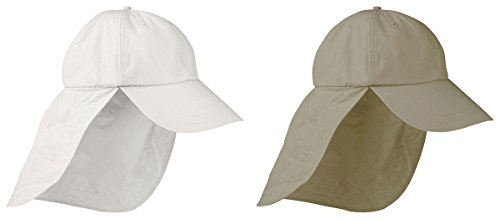 Adams Lined Elongated Bill Cap with Neck Capes Set_white / Khaki_OS