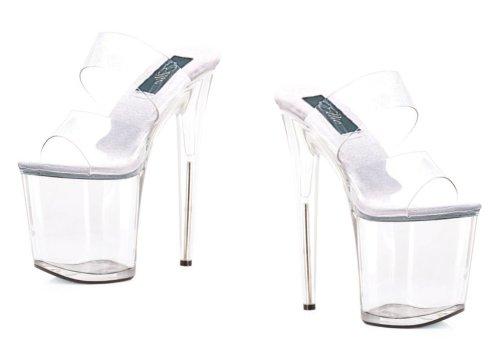 Scarpe Ellie 850-coco / Clr / 6 Donna, Cinturino Con Mule A 8 Tacco Trasparente
