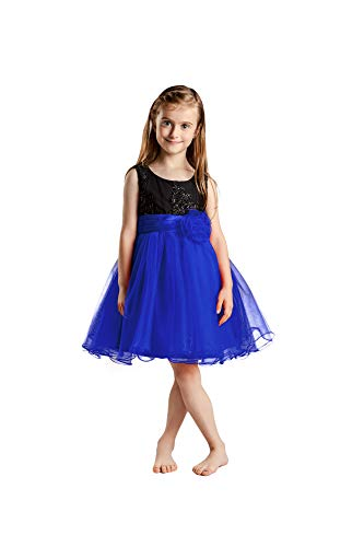 Eastbride Sleeveless Party Pegeant Gowns Sequins Flower Girl Dresses for Wedding with Bow Royal Blue Size 8 -