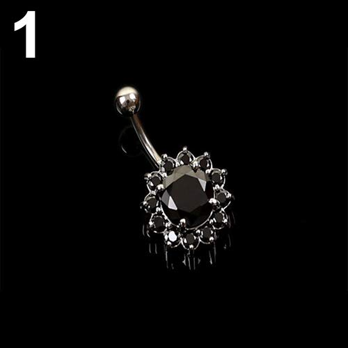 Display Belly Jewelry (Belly Button Rings gLoaSublim,Women Body Piercing Jewelry Rhinestone Ball Button Barbell Bar Belly Navel Ring - Black)