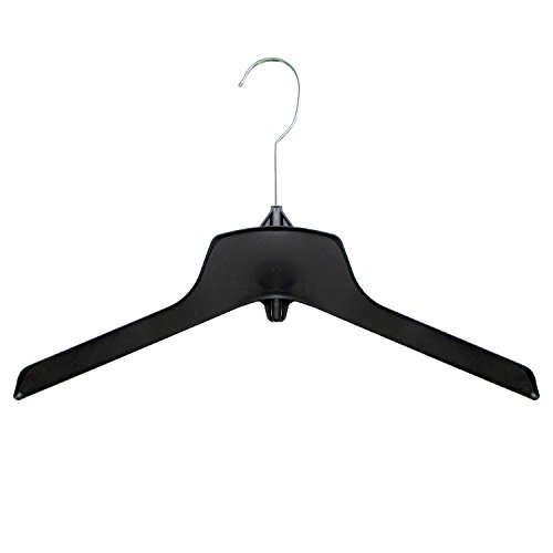 (Hanger Central Recycled Heavy Duty Plastic Coat Hangers with Long Polished Metal Swivel Hooks Outerwear Hangers, 15 Inch, Black, 50 Pack)