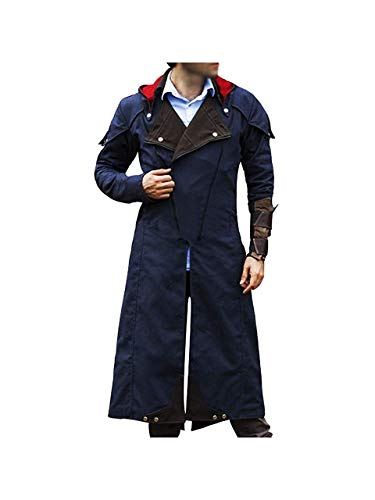 Assassin Creed Unity Costume Denim Cosplay Cloak Coat with Detachable Hood (S)