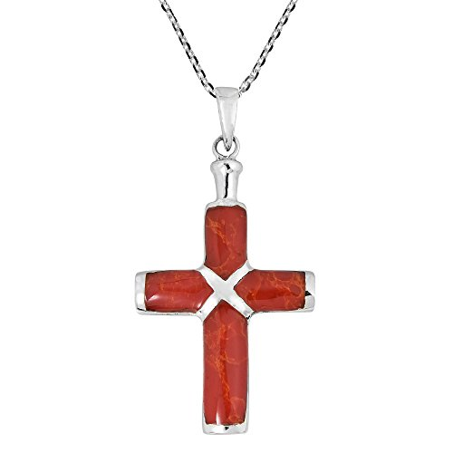 AeraVida Christian Cross Reconstructed Red Coral Inlay .925 Sterling Silver Pendant Necklace