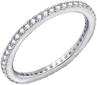 ccf5e38f4 Myia Passiello Platinum Plated Sterling Silver Swarovski Zirconia Clear  Eternity Band Ring Size 7