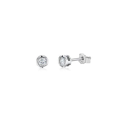MASSETE Sterling Silver 925 Simulated Diamond Stud Post Earrings Bezel Set 4mm