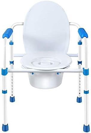 Wei Jun ベッドサイド便器椅子、炭素鋼パイプ折りたたみの携帯トイレ高齢者便座妊婦トイレ /-/-/ (Color : A)