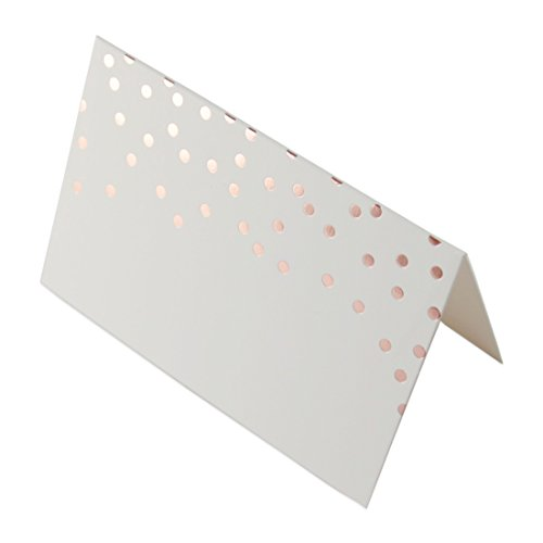 (Andaz Press Rose Gold Foil Folded Table Tent Place Cards, 24-Pack, Shiny Metallic Copper Champagne Themed Baby Shower)