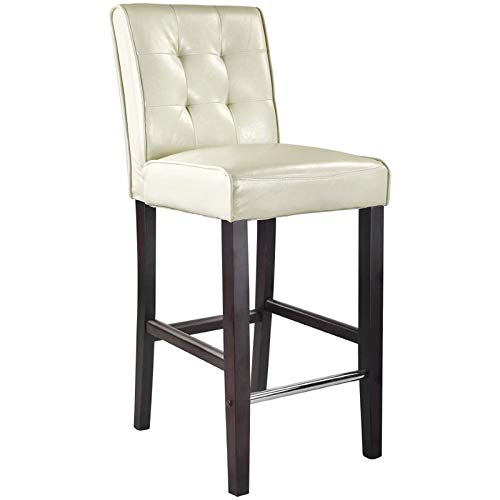 CorLiving DAD-413-B Antonio Bar Height Barstool in Cream White Bonded Leather, 31-Inch ()
