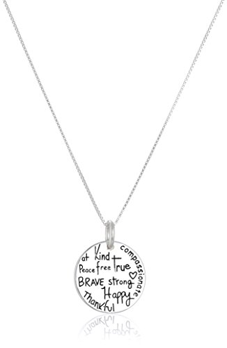 "Two Tone Sterling Silver ""Be"" Graffiti Charm Necklace, 18"""