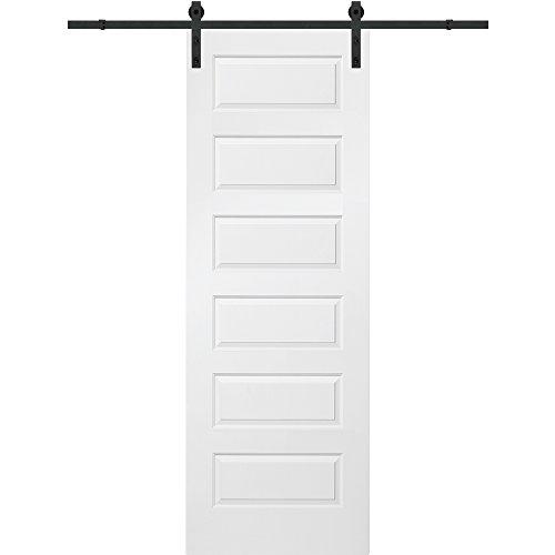 National Door Z020114 Barn Door Unit, Solid Core, Molded, 5-Panel, Primed, 30'' W x 96'' H by National Door Company