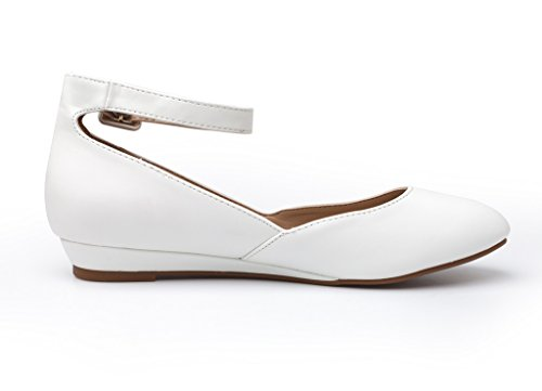 Strap Revona PAIRS Pu Wedge White Ankle DREAM Flats Shoes Women's Low FxwanYZ