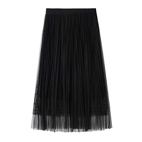 Holzkary Retro Elastic High Waist Wave Point Solid Casual Pleated Tulle Mesh Double Layer Mid Skirt(8-26.Black)