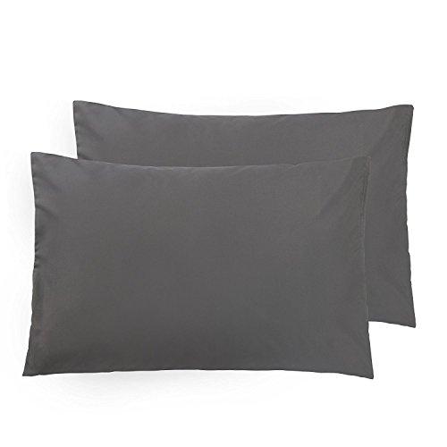 ALCSHOME Queen Pillowcases, 2 Pack Ultra Soft Microfiber Premium Quality, 20x30, Dark Grey