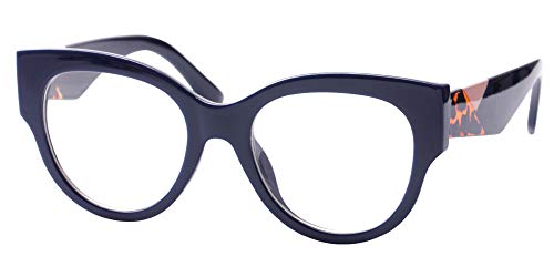 SOOLALA Ladies Modern Fashion Prescription Eyeglass Frame Cat Eye Reading Glass, Blue, 3.5 -
