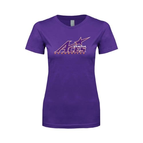 Evansville Next Level Ladies Softstyle Junior Fitted Purple Tee 'Purple Aces Official Logo'