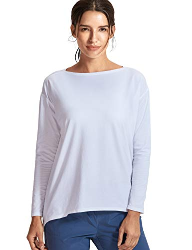 CRZ YOGA Women's Casual Long Sleeves Pima Cotton Workout T-Shirt Sports Boat Neck Top White ()