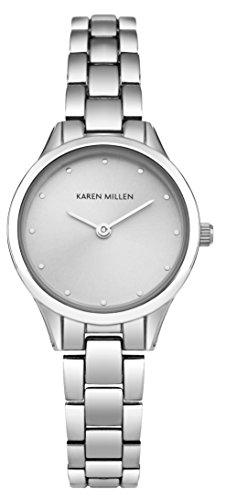 Karen-Millen-SKM002SM-Reloj-de-cuarzo-para-mujeres-con-esfera-de-plata-y-correa-plateada-de-aleacin