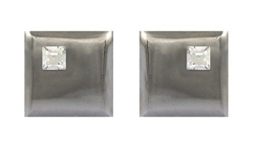(Fadkart Designer Black Plated White Swarovski Cufflinks For Mens)