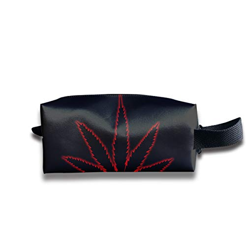 Black Weed in Red Border Multi-Function Key Purse Coin Cash Pencil Travel Makeup Toiletry Bag Box Case