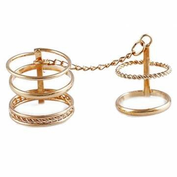 5Pcs Gold Plated Punk Metal Chain Joint Finger Knuckle Rings Set