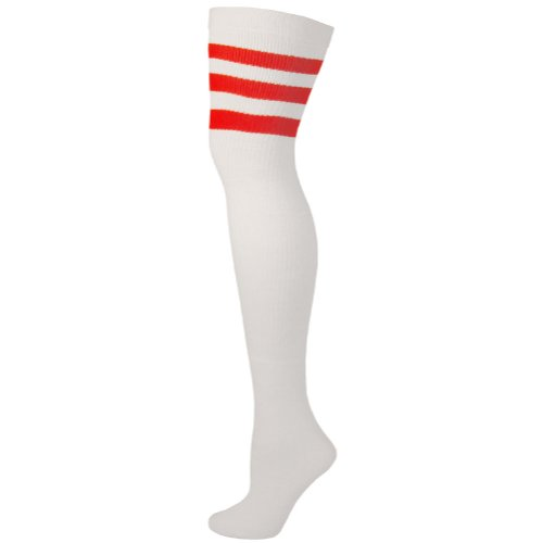 Retro Tube Socks - White w/ Red (Thigh High) (Thigh Socks For Women)