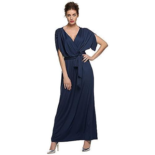 ANGVNS Womens Elegant Batwing Dolman Sleeve Classy Maxi Evening Dress, Size XX-Large, Navy Blue