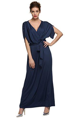 ANGVNS Women's Elegant Batwing Dolman Sleeve Classy Maxi Evening Dress, Size Small, Navy Blue