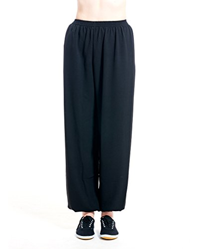 (ICNBUYS Women's Kung Fu Tai Chi Pants Cotton Silk XS Black)
