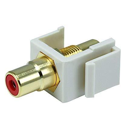 Monoprice 106554 Keystone Jack-Modular RCA with Red Center, Ivory (2 Pack)
